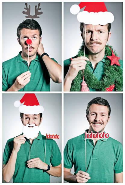 weihnachten selbstaufnahme - schnurrbart fotoautomaten stock-fotos und bilder