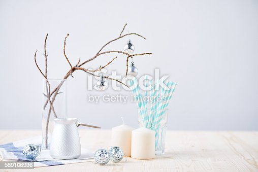 Portrait of winter white Christmas still life