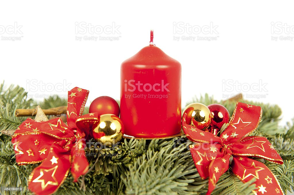 Christmas piece ribbons balls candle stock photo
