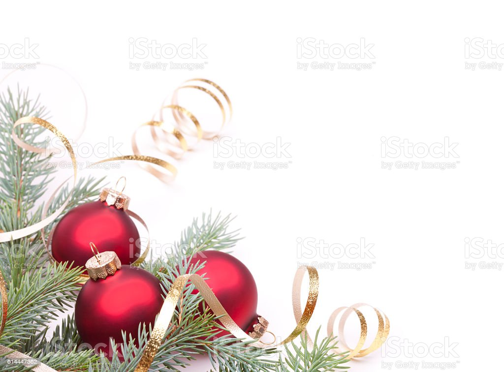 Christmas Pine and Bauble Arrangement Isolated on White stock photo