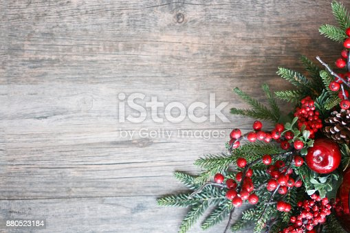 istock Christmas Pine Branches and Berries Background 880523184