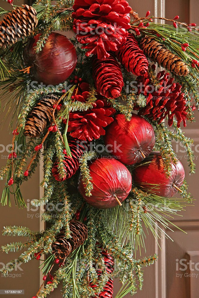 Christmas Pinecones,Boughs,And Fruit Wreath royalty-free stock photo