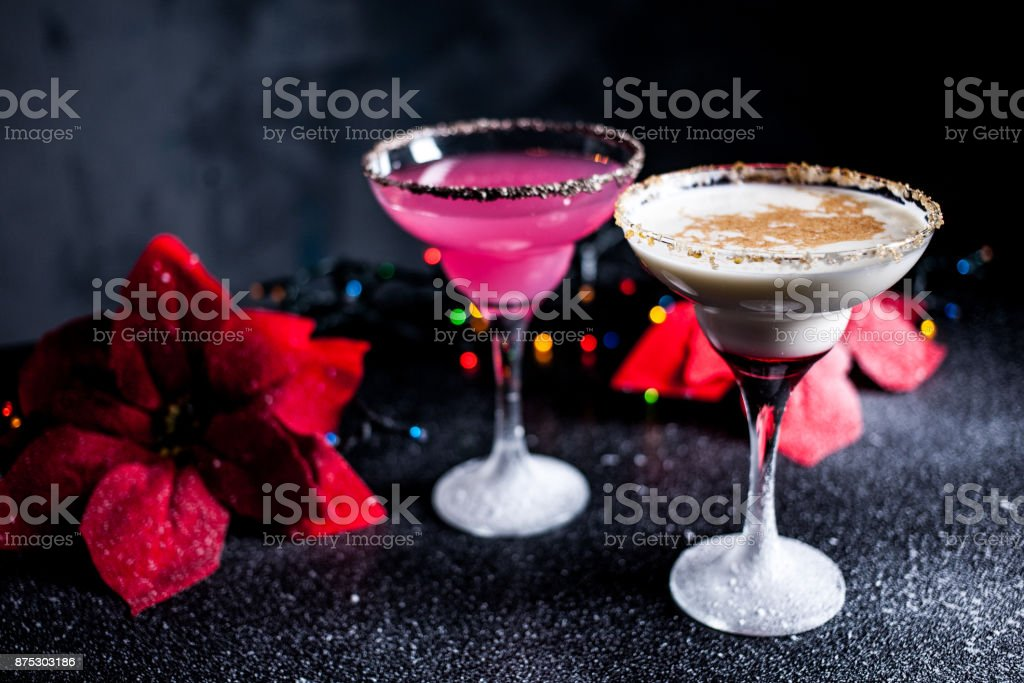 Christmas pink and white margarita cocktails. Martini Cocktails. stock photo