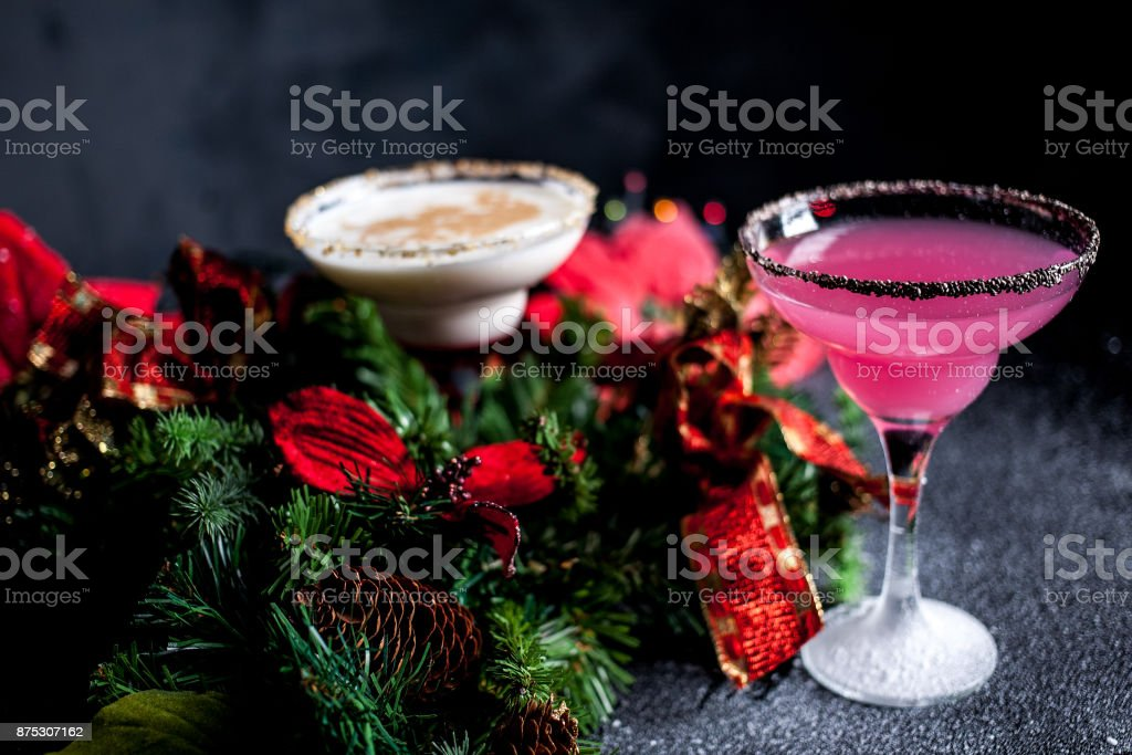 Christmas pink and white margarita cocktails. Martini Cocktails stock photo