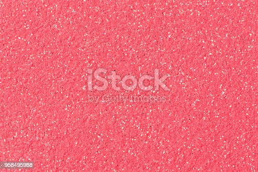 istock Christmas pink background with glitter 958495988