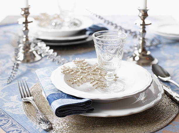 christmas place setting - blue table setting stock photos and pictures