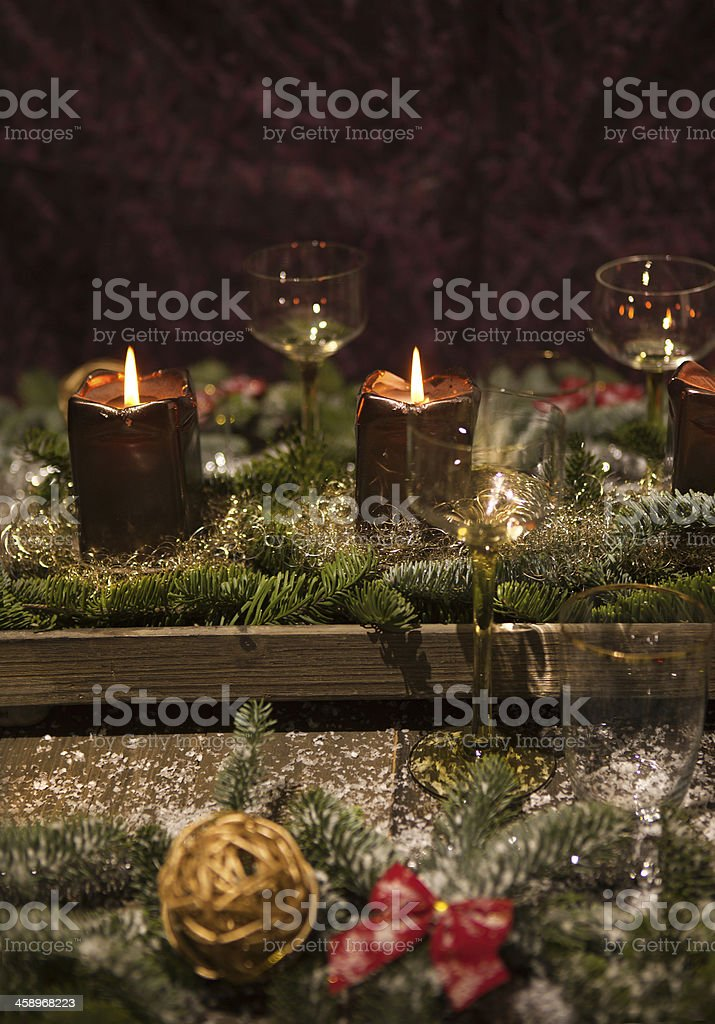 christmas place setting vertical format royalty-free stock photo