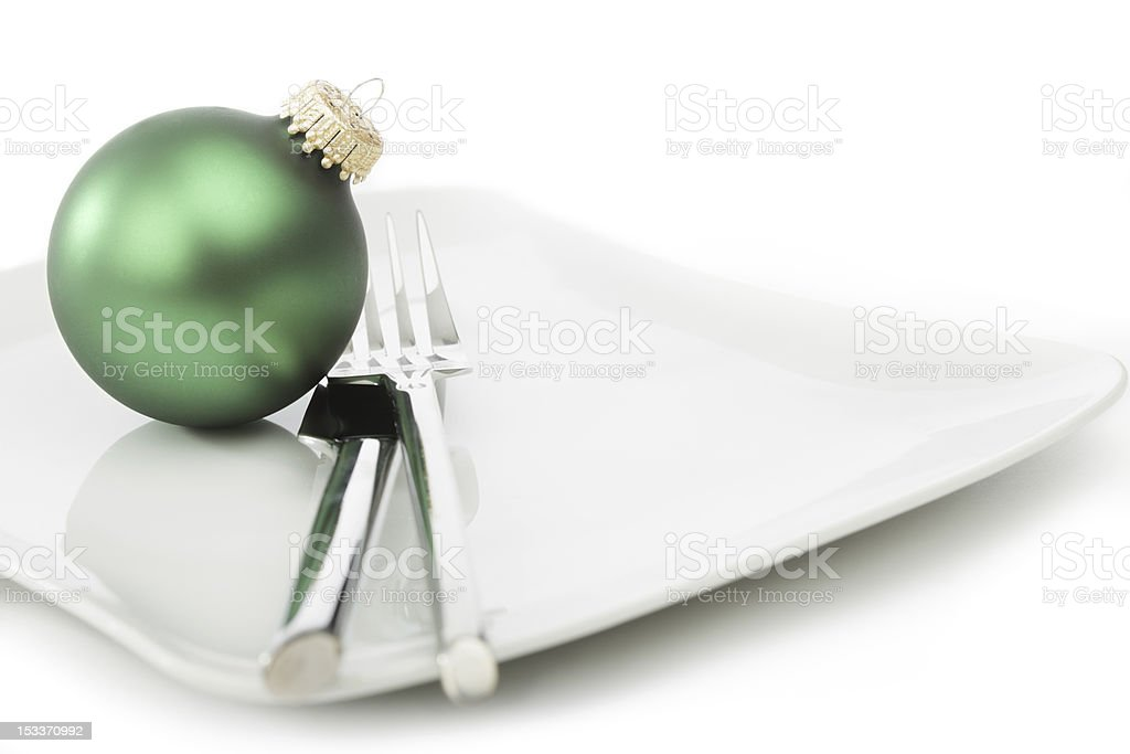 Christmas Place Setting with Green Bauble royalty-free stock photo