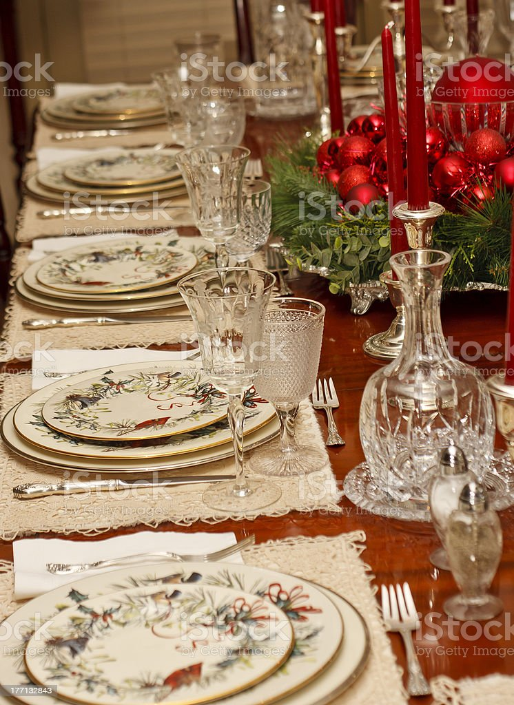 Christmas Place Settings on Holiday Table royalty-free stock photo