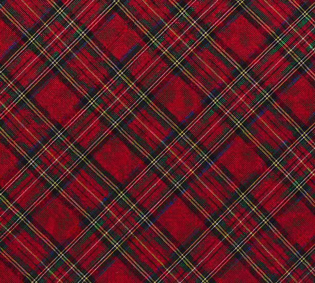 Christmas plaid fabric stock photo