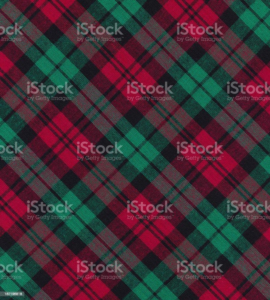 Christmas plaid fabric stock photo
