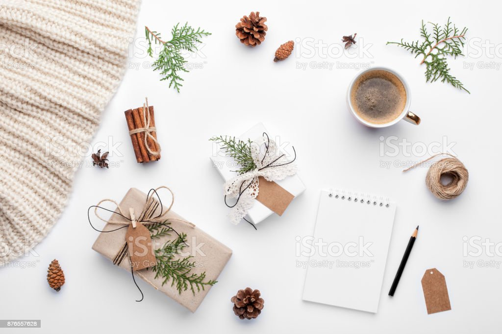 Christmas planning background. Prepare to winter holidays. stock photo