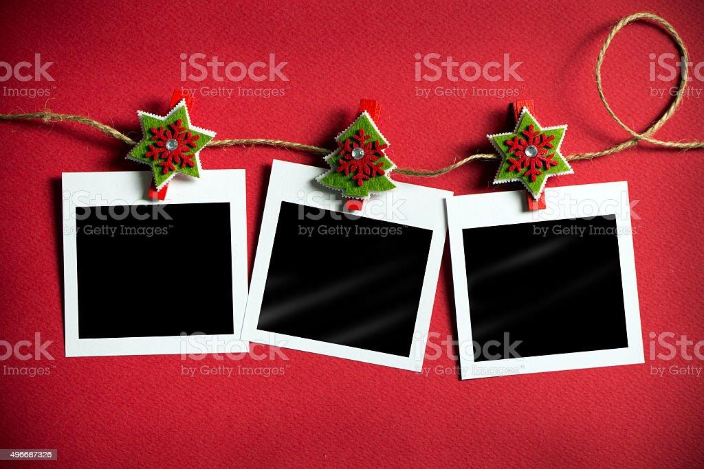 Christmas polaroid photo frames stock photo