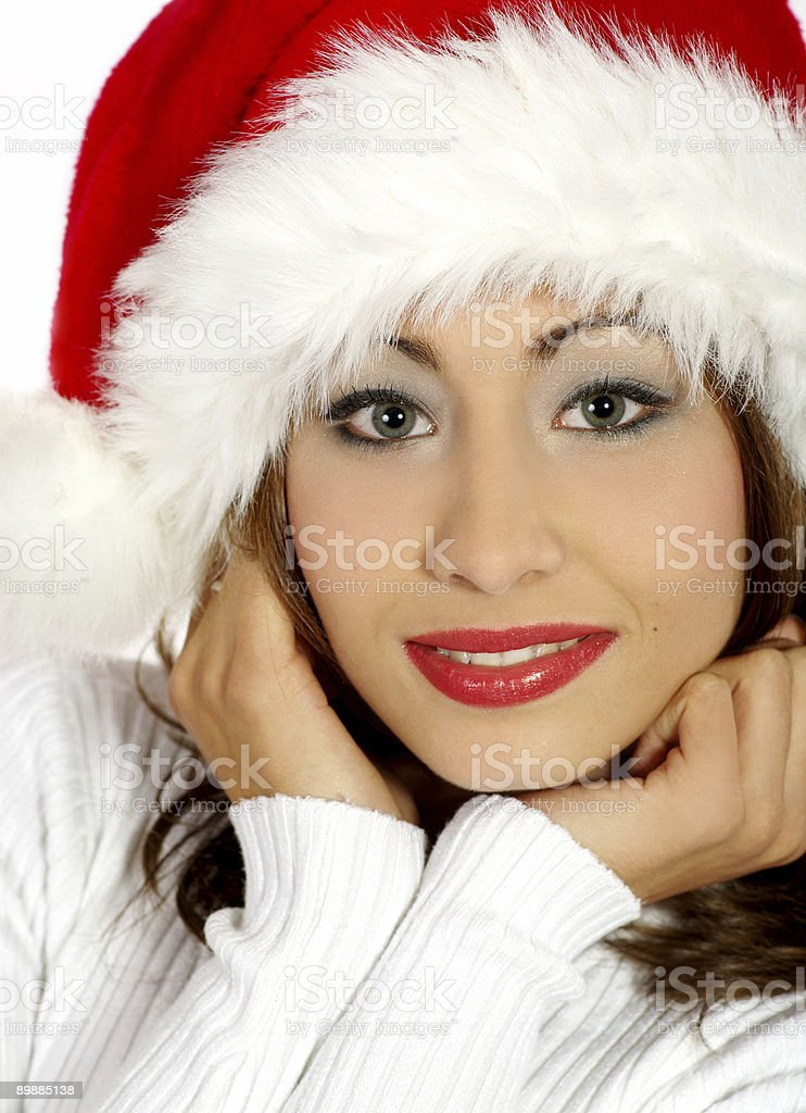 christmas portrait of a beautiful smiling woman royalty-free stock photo