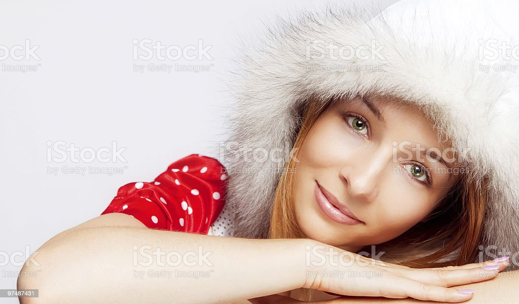 Christmas portrait of beautiful young woman royalty-free stock photo