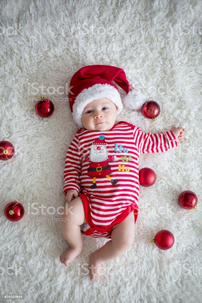 Christmas Portrait Of Cute Little Newborn Baby Boy Stock ...