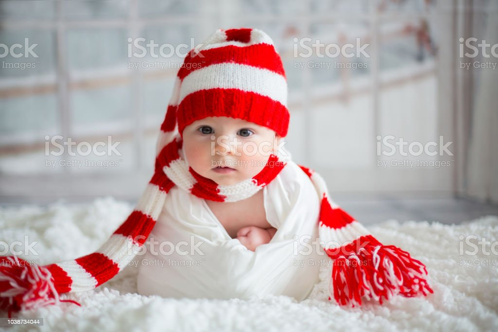 Newborn Christmas Pictures.Christmas Portrait Of Cute Little Newborn Baby Boy Wearing Santa Hat Stock Photo Download Image Now