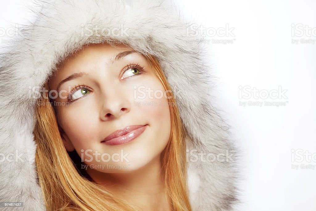 Christmas portrait of happy pensive woman royalty-free stock photo