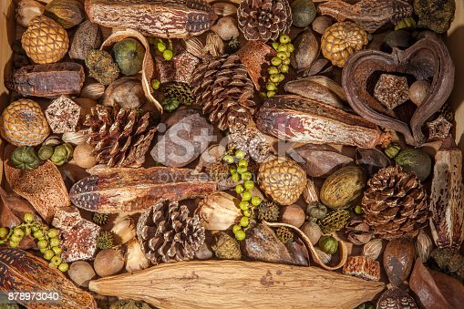 Christmas potpourri background. Traditional xmas decoration of pinecones nuts and berries. Pot pourrii laid out as a seasonal backdrop.