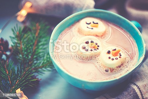 Christmas preparations of a marshmallow snowman for the hot chocolate