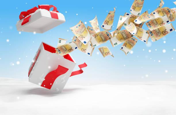 Weihnachten vorhanden 50 Euro Banknoten 3d-illustration – Foto