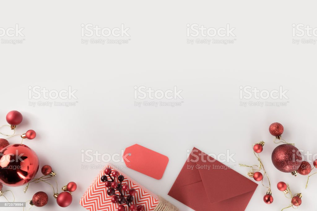 christmas present and envelope stock photo