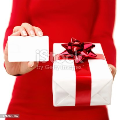 455111881 istock photo Christmas present and gift card 176870167