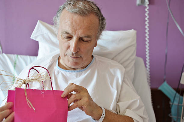 Christmas present in hospital stock photo
