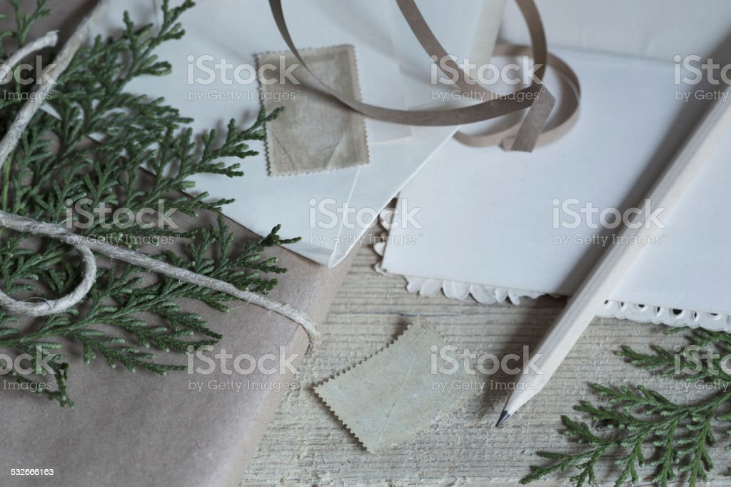 Christmas present in the vintage style stock photo