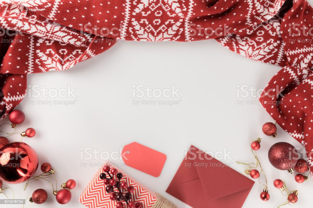 christmas present, scarf and envelope stock photo