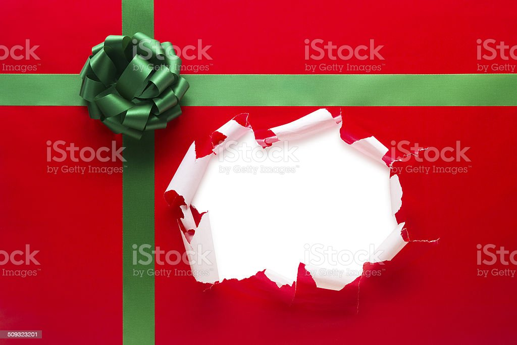 Christmas Present Torn Open stock photo