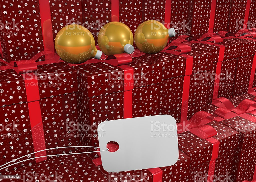 Christmas Present with Bow and Tag royalty-free stock photo
