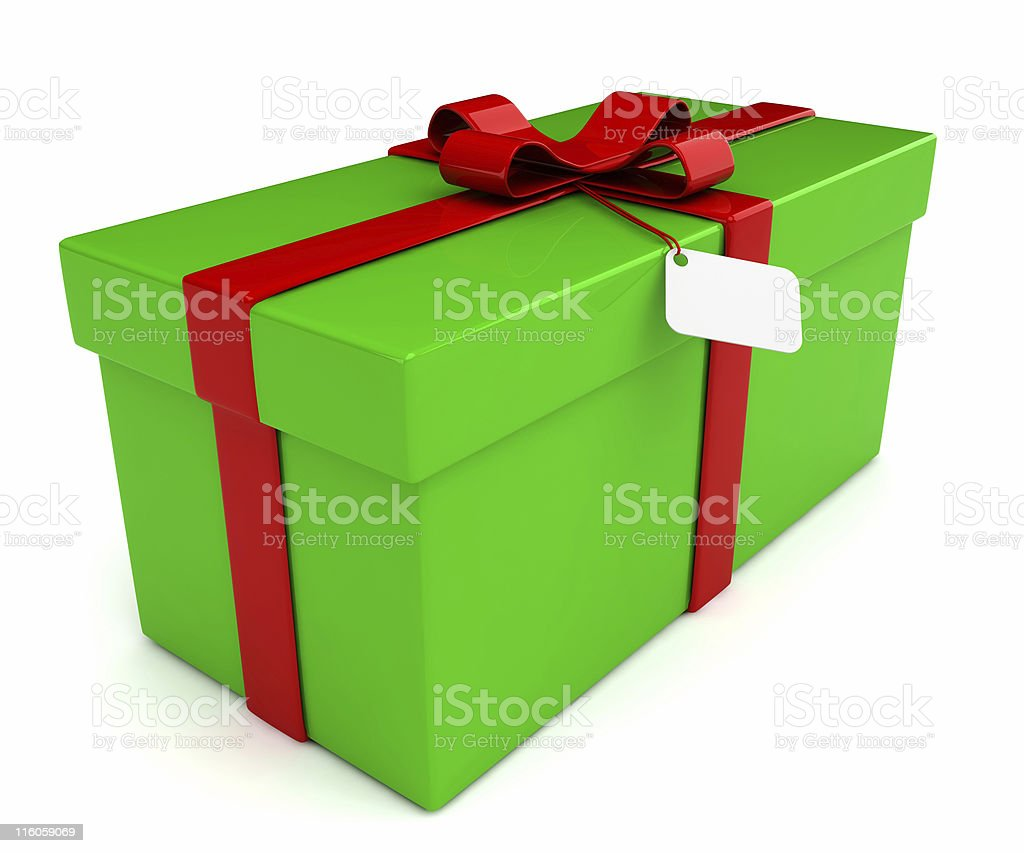 Christmas Present (Square) with Bow & Tag - isolated royalty-free stock photo