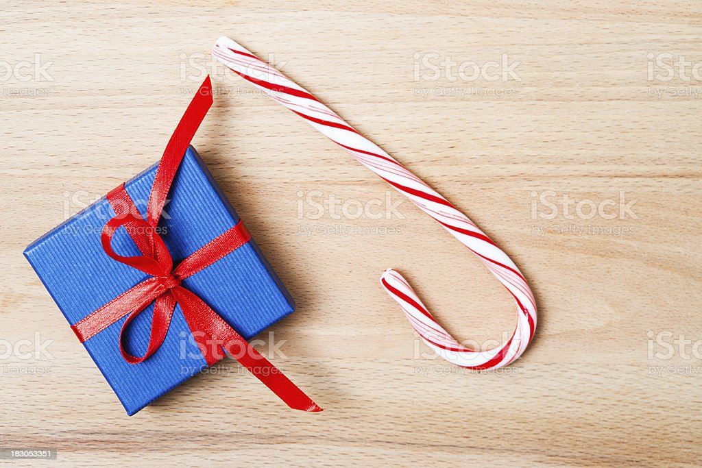 Christmas Present with Candy Stick royalty-free stock photo