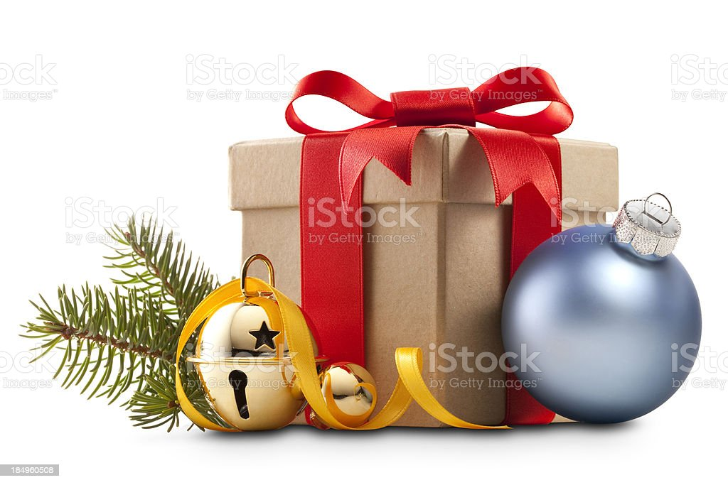 Christmas present with decoration stock photo