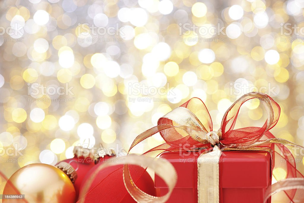 Christmas present with illuminated background royalty-free stock photo