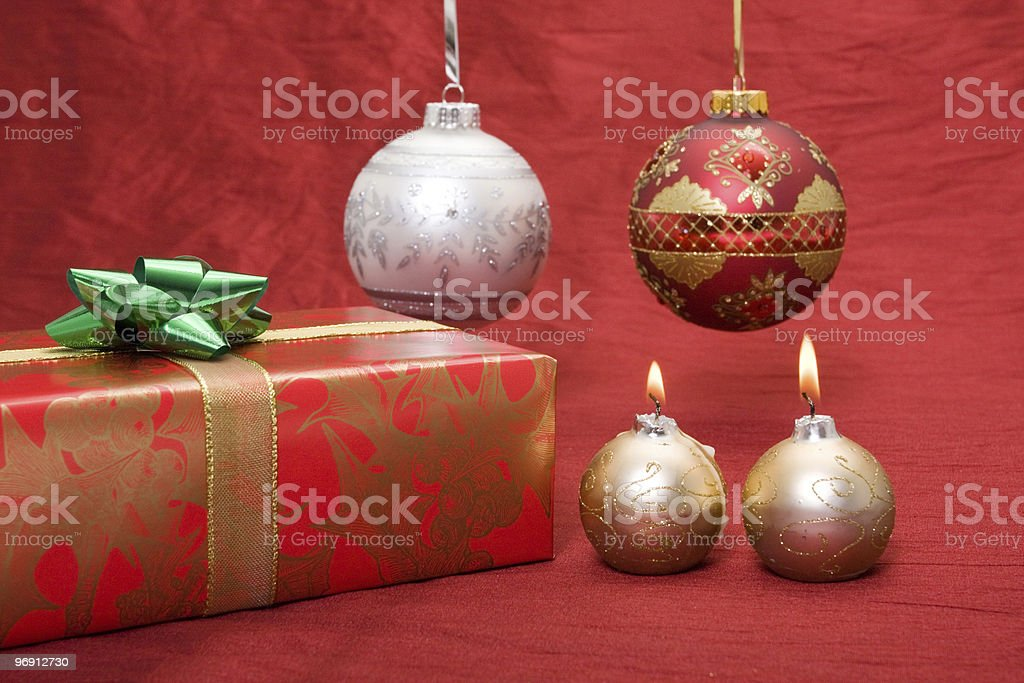 Christmas present with ornaments royalty-free stock photo