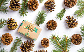 istock Christmas present with pine cones festive background 894690554