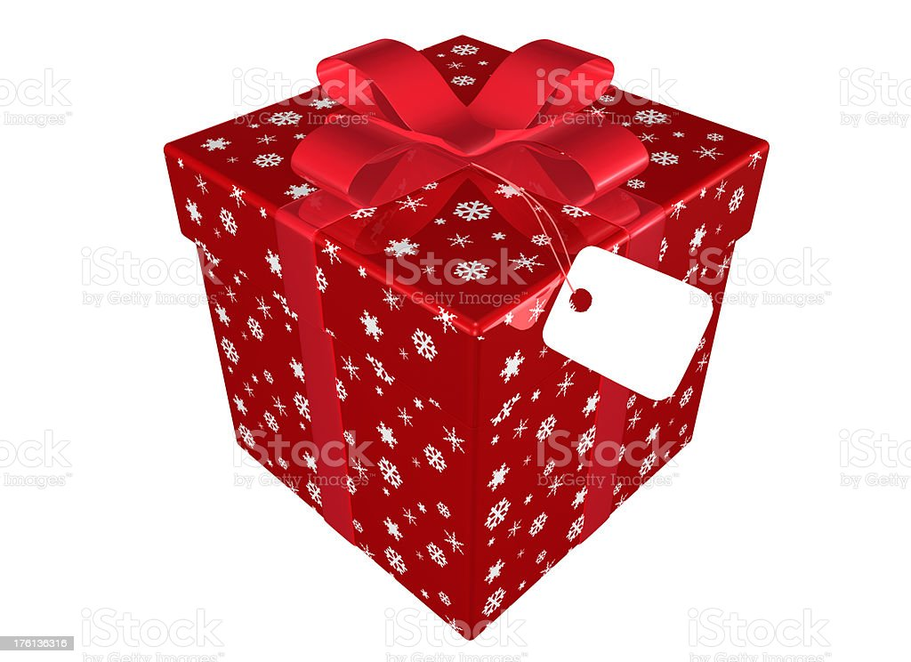 Christmas Present with red Bow and Tag royalty-free stock photo