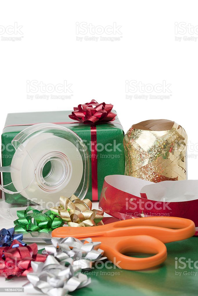 Christmas present wrapping supplies royalty-free stock photo
