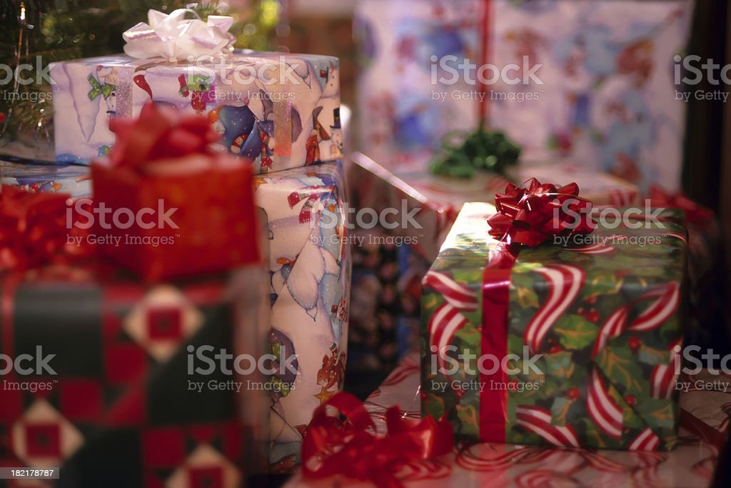 christmas presents all wrapped up royalty-free stock photo