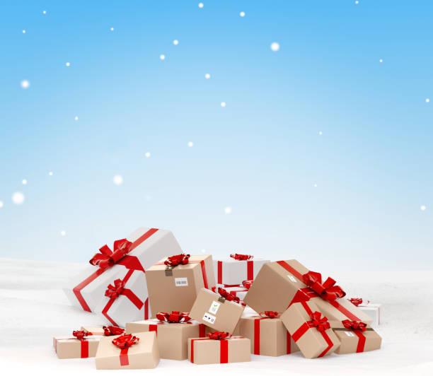 Weihnachtsgeschenke und Weihnachtslieferpakete in der Schnee-3d-Illustration – Foto
