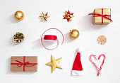 istock Christmas presents and decoration, beautiful flat lay arrangement 1174973060