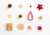 istock Christmas presents and decoration, beautiful flat lay arrangement 1182664745