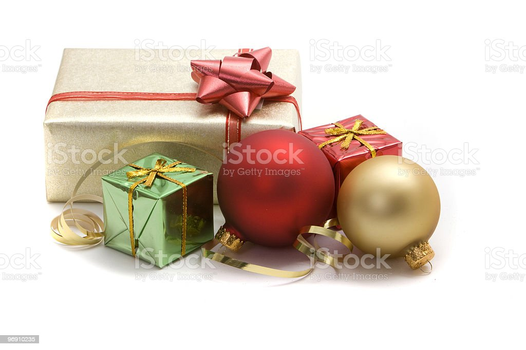 Christmas presents and ornaments royalty-free stock photo