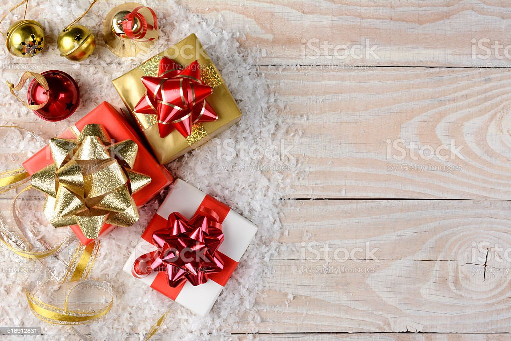 Christmas Presents and Snow stock photo