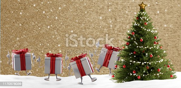 istock Christmas presents and tree at golden background 3d-illustration 1170578039