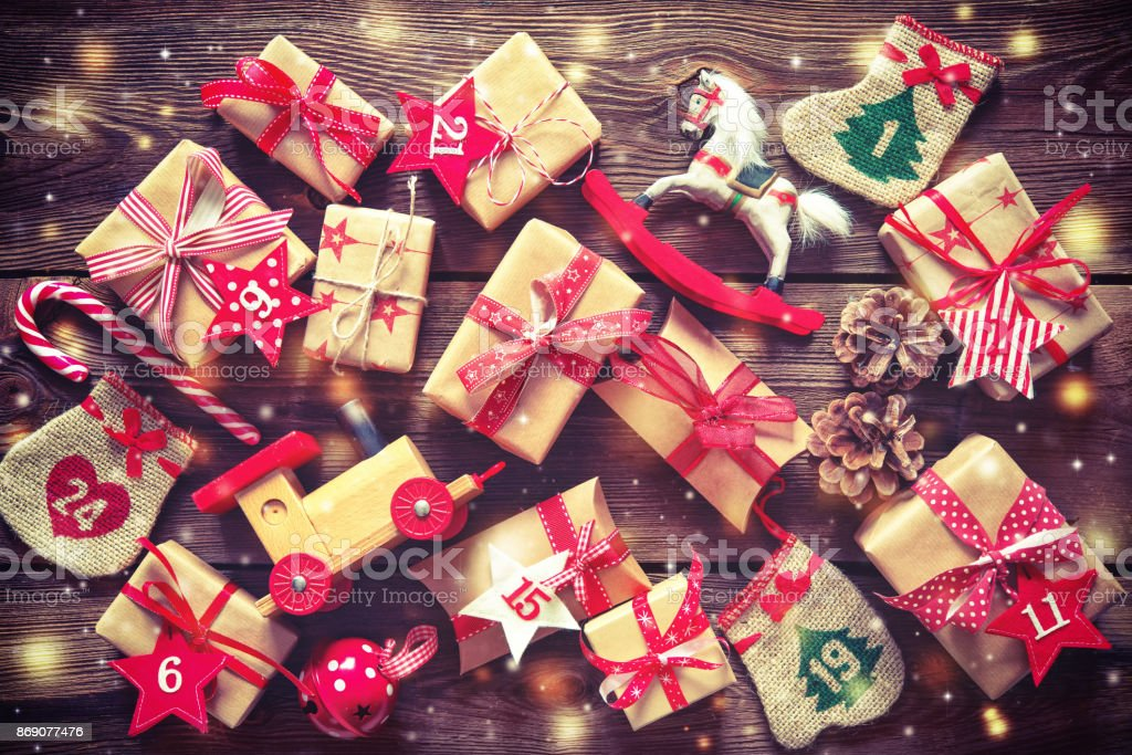Christmas presents flat lay on wooden background stock photo