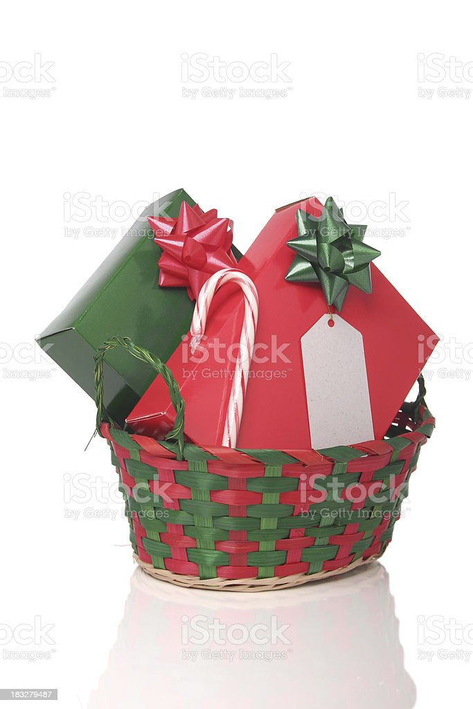 Christmas Presents In A Basket royalty-free stock photo