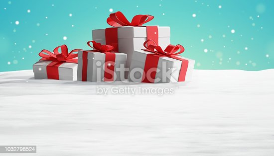 istock christmas presents in snow 3d-illustration background 1032798524